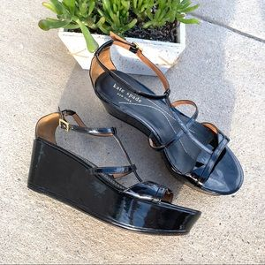 Kate Spade Black Patent Leather Platform Sandals